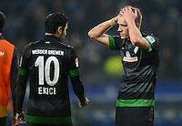 FUSSBALL   1. BUNDESLIGA   SAISON 2012/2013    19. SPIELTAG Hamburger SV - SV Werder Bremen                          27.01.2013 Mehmet Ekici und Nils Petersen (v.l, beide SV Werder Bremen) sind nach dem Abpfiff enttaeuscht