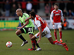 Alex Baptiste of Sheffield Utd gets clear of Victor Nirennold of Fleetwood Town  - English League One - Fleetwood Town vs Sheffield Utd - Highbury Stadium - Fleetwood - England - 5rd March 2016 - Picture Simon Bellis/Sportimage