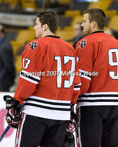 Randy Guzior (NU - 13), Jacques Perreault (NU - 9) - The Northeastern University Huskies defeated the Harvard University Crimson 3-1 in the Beanpot consolation game on Monday, February 12, 2007, at TD Banknorth Garden in Boston, Massachusetts.