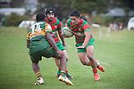 Willie Heperi cuts back infield as Waiuku attack the Pukekohe tryline. Counties Manukau Premier Club Rugby game between Pukekohe and Waiuku, played at Colin Lawrie Field, Pukekohe, on Saturday May 03 2014. Pukekohe won the game 28 - 10 afterleading 21 - 10 at halftime  Photo by Richard Spranger