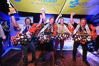 ZEILEN: LEMMER:  09-08-2014, IFKS skûtsjesilen, huldiging kampioenen, Sietse Broersma (a klein), Arnold Venema (C klasse), Jilles Bandstra (B klasse), Jelle Talsma (A klasse), ©foto Martin de Jong