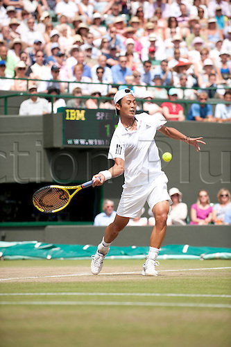 June 30th 2010: Wimbledon International Tennis Tournament held at the All England Lawn Tennis Club, London, England, Yen-Hsun Lu of TPE playing Novak Djokovic in the mens singles quarter finals