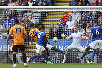 Leander Dendoncker of Wolverhampton Wanderers /scores but sees it ruled out for VAR during Leicester City vs Wolverhampton Wanderers, Premier League Football at the King Power Stadium on 11th August 2019