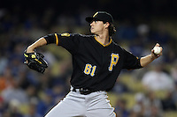 Pittsburgh Pirates pitcher Jeff Locke #61 pitches against the Los Angeles Dodgers at Dodger Stadium on September 16, 2011 in Los Angeles,California. Los Angeles defeated Pittsburgh 7-2.(Larry Goren/Four Seam Images)