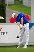 Alex Noren (Europe) on the 8th tee during the Friday Foursomes of the Eurasia Cup at Glenmarie Golf and Country Club on the 12th January 2018.<br /> Picture:  Thos Caffrey / www.golffile.ie