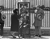 "Unidentified Jewish protestors erect a mock jail on the sidewalk outside the White House in Washington, DC to protest the treatment of Soviet Jews in Russia on March 21, 1971.  More than 680 people were arrested.  After the sit-in members of the Jewish Defense League (JDL) moved to the Elllipse for speches and told the demonstrators ""President Nixon will have to change his policy if enough Jews show themselves willing to sacrifice.""<br /> Credit: Len Owens / CNP"