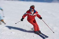 Europe/France/Rhone-Alpes/74/Haute-Savoie/Megève: skieurs à Rochebrune- Utilisation avec la mention Megève obligatoire