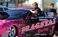 Apr. 4, 2009; Las Vegas, NV, USA: NHRA pro stock driver Erica Enders during qualifying for the Summitracing.com Nationals at The Strip in Las Vegas. Mandatory Credit: Mark J. Rebilas-