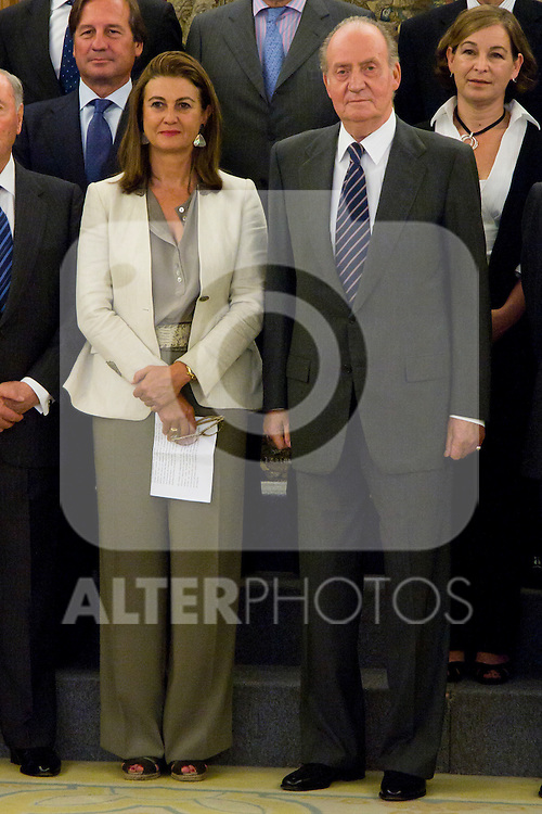 04.07.2012. King Juan Carlos I of Spain attends a Board of Entrepreneurs Circle, chaired by Ms Monica de Oriol in the Zarzuela Palace. In the image Monica de Oriol and Juan Carlos I de Borbon (Alterphotos/Marta Gonzalez)