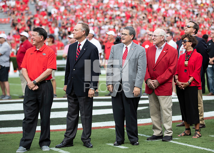 ATHENS, GA - SEPTEMBER 7: Vince Dooley during the naming of Dooley Field during a game between Murray State Racers and University of Georgia Bulldogs at Sanford Stadium on September 7, 2019 in Athens, Georgia.