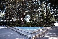 Lloyd Wright: Wayfarer's Chapel. Patio, triangular pool. 1946-1971.  Photo '82.