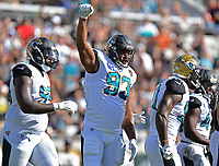 Jacksonville Jaguars defensive end Calais Campbell (93) against the Los Angeles Rams in a NFL game Sunday, October 15, 2017 in Jacksonville, Fl.  (Rick Wilson/Jacksonville Jaguars)