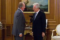 02.08.2012. Juan Carlos of Spain attends the audience with Mr. Mario Monti, President of the Council of Ministers of Italy, at the Palacio de la Zarzuela in Madrid. In the image King Juan Carlos I and Mario Monti (Alterphotos/Marta Gonzalez) /NortePhoto.com<br /> <br />  **CREDITO*OBLIGATORIO** *No*Venta*A*Terceros*<br /> *No*Sale*So*third* ***No*Se*Permite*Hacer Archivo***No*Sale*So*third*