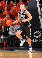 Duke guard Tricia Liston (32) handles the ball during an NCAA college basketball game in Charlottesville, Va. Duke defeated Virginia 62-41...