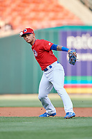 Buffalo Bisons third baseman Tim Lopes (5) throws to first base during a game against the Scranton/Wilkes-Barre RailRiders on May 18, 2018 at Coca-Cola Field in Buffalo, New York.  Buffalo defeated Scranton/Wilkes-Barre 5-1.  (Mike Janes/Four Seam Images)
