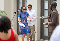 Families and friends gather for the First Generation College Student reception for the class of 2016 at Thorne Hall patio on May 14, 2016.<br />