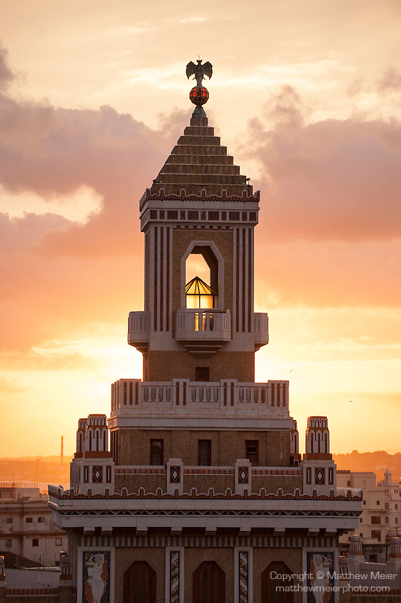 Havana, Cuba; sunrise behind the Bacardi Building, the former headquarters of the Bacardi Rum empire