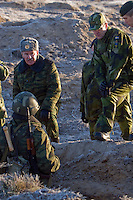 Kamenka, Karelia, Russia, 14/12/2007..Lt. General Nikolai Grigorievich Dimov speaks to Russian troops in the trenches during Snezhinka [Snowflake] 2007, a joint live fire training exercise for Russian and Swedish motorised infantry in which they play the roles of a combined peace-keeping force enforcing a demilitarised zone in a warring region.