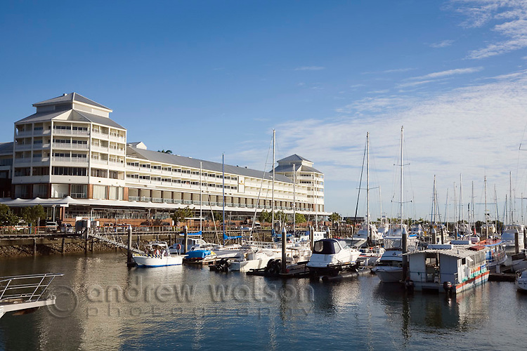 Marlin Marina with The Pier hotel and shopping complex in the background.  Cairns, Queensland, Australia