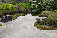 Meigetsuin Zen Garden - The karesansui zen garden of raked sand, rocks and plants at Meigetsuin Temple Garden represents legendary Mount Shumi or Sumeru an imaginary mountain in the Buddhist universe. According to records Meigetsuin was originally merely the guest house of a much bigger temple called Zenko-ji which was closed by the government during the Meiji period and is all that remains of the formerly important temple.