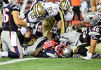 Thursday August 11, 2016: New England Patriots running back LeGarrette Blount (29) scores a touchdown during an NFL pre-season game between the New Orleans Saints and the New England Patriots held at Gillette Stadium in Foxborough Massachusetts. The Patriots defeat the Saints 34-22 in regulation time. Eric Canha/CSM