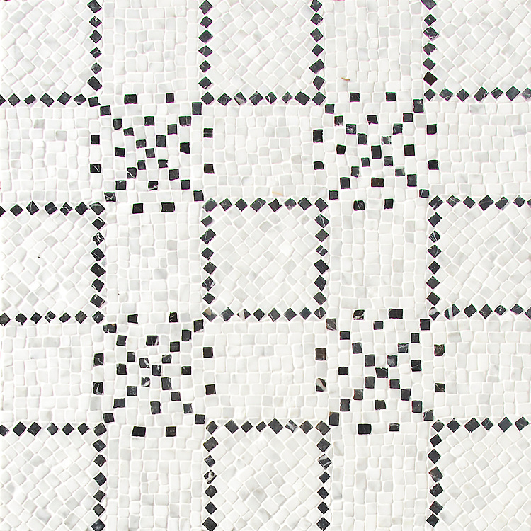 Augustine, a hand-cut stone mosaic, shown in hand-chopped tumbled Calacatta Tia and Nero Marquina, is designed by Paul Schatz as part of the Legend® collection by New Ravenna.