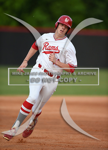 Lake Mary Rams third baseman Brett Brubaker (19) during a game against the Lake Brantley Patriots on April 2, 2015 at Allen Tuttle Field in Lake Mary, Florida.  Lake Brantley defeated Lake Mary 10-5.  (Mike Janes Photography)