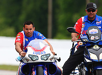 May 17, 2014; Commerce, GA, USA; NHRA pro stock motorcycle rider Hector Arana Jr during qualifying for the Southern Nationals at Atlanta Dragway. Mandatory Credit: Mark J. Rebilas-USA TODAY Sports
