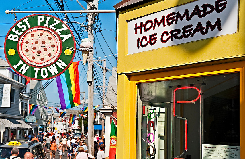 Ice cream and pizza shop on Commerce Street, Provincetown, Cape Cod, MA, USA