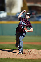 Concord Mountain Lions starting pitcher Dan Nicholls (20) in action against the Wingate Bulldogs at Ron Christopher Stadium on February 2, 2020 in Wingate, North Carolina. The Mountain Lions defeated the Bulldogs 12-11. (Brian Westerholt/Four Seam Images)