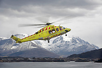 Air Ambulance crew from Lufttransport at their base in Ålesund. Agusta Westland AW139