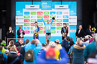 Picture by Alex Whitehead/SWpix.com - 04/05/2018 - Cycling - 2018 Asda Women's Tour de Yorkshire - Stage 1: Barnsley to Ilkley - Great Britain's Dani Rowe, Boels Dolmans Megan Guarnier & Canyon SRAM's Alena Amialiusik.