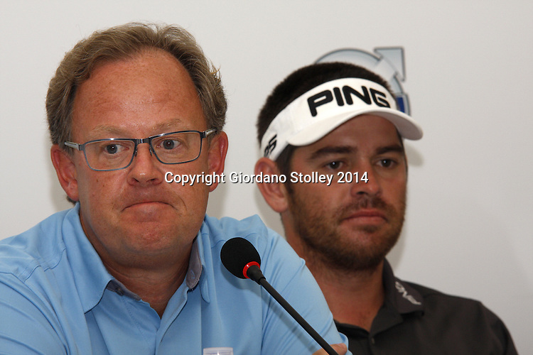 DURBAN - 8 January 2014 - Per Ericsson (right), the Volvo Event Management Golf president, fields questions at the Volvo Golf Champions event in Durban as South African golfer and defending champion Louis Oosthuizen looks on. Picture: Allied Picture Press/APP