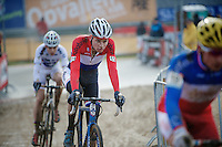 Dutch U23 Champion Mathieu Vanderpoel (NLD/BKCP-Powerplus) behind the French Champ &amp; followed by the World Champ<br /> <br /> Zolder CX UCI World Cup 2014