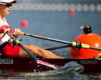 Rio de Janeiro. BRAZIL.  CAN W1X, Carling ZEEMAN, at the start of her heat at the 2016 Olympic Rowing Regatta. Lagoa Stadium,<br /> Copacabana,  &ldquo;Olympic Summer Games&rdquo;<br /> Rodrigo de Freitas Lagoon, Lagoa. Local Time 09:55:31  Saturday  06/08/2016 <br /> [Mandatory Credit; Peter SPURRIER/Intersport Images]