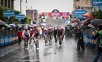 Maglia Ciclamino / points leader Pascal Ackermann (DEU/BORA-hansgrohe) wins his 2nd Giro stage in a super rainy stage 5 ahead of Fernando Gaviria (COL/UAE-Emirates)<br /> <br /> Stage 5: Frascati to Terracina (140km)<br /> 102nd Giro d'Italia 2019<br /> <br /> ©kramon