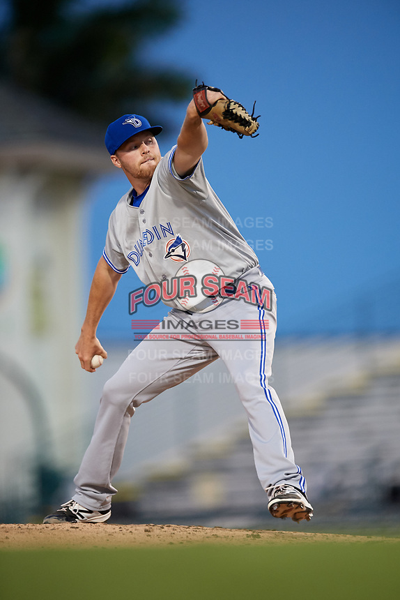 Dunedin Blue Jays starting pitcher Josh DeGraaf (13) delivers a pitch during a game against the Bradenton Marauders on May 2, 2018 at LECOM Park in Bradenton, Florida.  Bradenton defeated Dunedin 6-3.  (Mike Janes/Four Seam Images)
