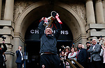 Chris Wilder manager of Sheffield Utd outside the town hall during the open top bus parade from Bramall Lane Stadium to Sheffield Town Hall, Sheffield. Picture date: May 2nd 2017. Pic credit should read: Simon Bellis/Sportimage