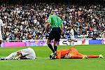 Real Madrid´s goalkeeper Keylor Navas and Pepe during 2014-15 La Liga match between Real Madrid and Eibar at Santiago Bernabeu stadium in Madrid, Spain. April 11, 2015. (ALTERPHOTOS/Luis Fernandez)