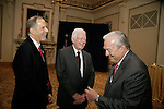Jon Kaplan (left) chats with Bill Kurtis and Jimmy Carter at the special reception before PCC's Golden Trumpet Awards dinner. President Carter delivered the keynote speech. Bill Kurtis emceed. PCC recognized the regions best strategic communications work  done in 2013 at the Golden Trumpet Awards dinner at the Palmer House in downtown Chicago on Wednesday, June 4, 2014   [Photo by Karen Kring]