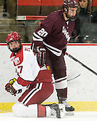 Danny Fick (Harvard - 7), Jeremy Price (Colgate - 20) - The Harvard University Crimson defeated the visiting Colgate University Raiders 4-2 on Saturday, November 12, 2011, at Bright Hockey Center in Cambridge, Massachusetts.