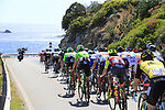 The peloton pass the stunning coastline at Villasimius during Stage 3 of the 100th edition of the Giro d'Italia 2017, running 148km from Tortoli to Cagliari, Sardinia, Italy. 7th May 2017.<br /> Picture: Eoin Clarke | Cyclefile<br /> <br /> <br /> All photos usage must carry mandatory copyright credit (&copy; Cyclefile | Eoin Clarke)