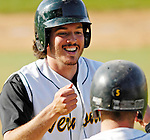 24 April 2007: University of Vermont Catamounts' Nick Gallipani, a Senior from Brewster, NY, celebrates scoring a run against the Dartmouth College Big Green at Historic Centennial Field, in Burlington, Vermont. The Catamounts defeated the Big Green 11-5...Mandatory Photo Credit: Ed Wolfstein Photo
