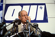 "Montreal, Quebec, Canada, May 18, 1980. Leader of the Parti Québécois, René Lévesque, during a press conference of the 1980 Quebec referendum on sovereignty against Claude Ryan's Canadian Liberal Party. Lévesque would lose the ""Yes"" vote by 40.5% against 59.5%."