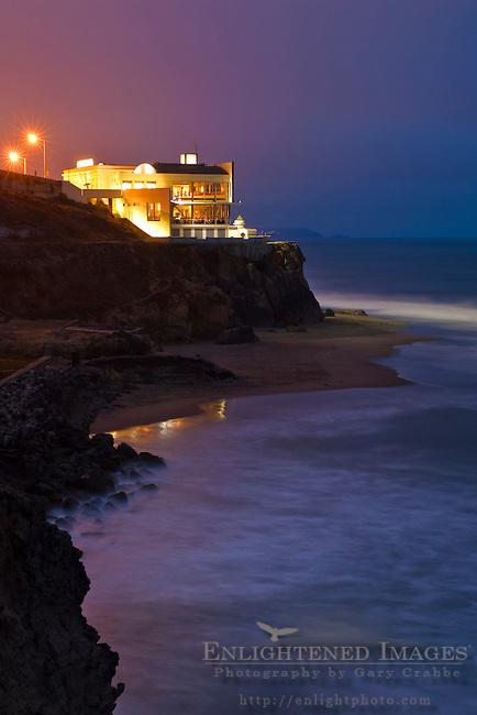 The Cliff House above the Sutro Bath ruins and Ocean Beach, San Francisco, California