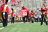 College Park, MD - SEPT 22, 2018: Maryland Terrapins 12th man gets the crowd pumped before game between Maryland and Minnesota at Capital One Field at Maryland Stadium in College Park, MD. The Terrapins defeated the Golden Bears 42-13 to move to 3-1 on the season. (Photo by Phil Peters/Media Images International)