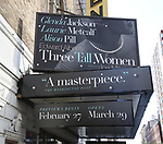 Theatre Marquee unveiling for Edward Albee's 1994 Pulitzer Prize-winning masterpiece, 'Three Tall Women' starring Glenda Jackson, Laurie Metcalf and Alison Pill under the direction of Joe Mantello at the Golden Theatre on October 17, 2017 in New York City.