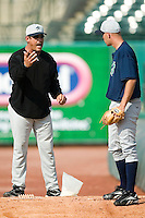 Charlotte Knights pitching coach Juan Nieves works with relief pitcher David Aardsma (33) during a bullpen session at Louisville Slugger Field in Louisville, KY, Tuesday, June 5, 2007.