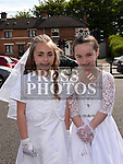 Cousins Leah and Kayleigh Duffy from St Brigids school who received their Fiirst Holy Communion in Our Lady of Lourdes church. Photo:Colin Bell/pressphotos.ie