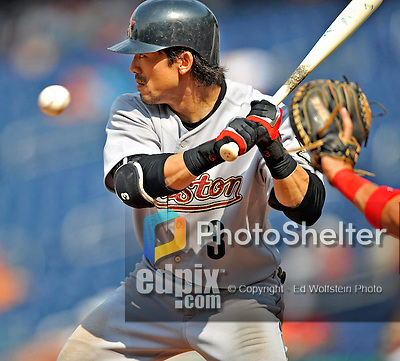 13 July 2008: Houston Astros' second baseman Kazuo Matsui in action against the  Washington Nationals at Nationals Park in Washington, DC. The Astros shut out the Nationals 5-0 to take the rubber match of their 3-game series, as both teams head into the All-Star break and the second half of the 2008 season...Mandatory Photo Credit: Ed Wolfstein Photo